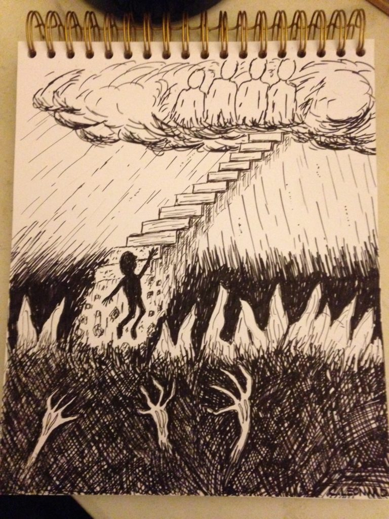 hand drawn sketch of a man on a jacob's ladder being pulled down by demons
