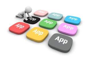 "Graphics with a bunch of colored buttons that say ""app"""