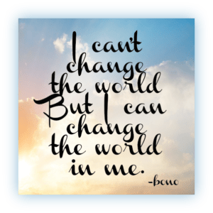 I can't change the world, but I can change the world in me. - Bono