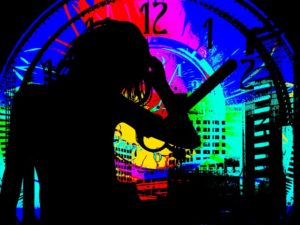 Outline of a stressed out woman in front of a clock